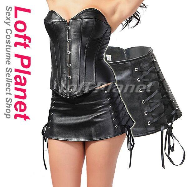 レザースカート ヒップハング 編み上げ&ミニ ボンテージのセクシーコスチューム 6XL大きいサイズあり M1-HG3258