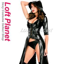 ボンテージのロングコート レザー調のフード&編み上げ スリーブレスのアシンメトリー セクシーなレディース・コスチューム ハロウィンの魔女風コスプレ衣装 黒 M1-N10400