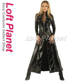 ロングコート PVCエナメルのボンテージ BDSM衣装 セクシーで重厚なボンデージのレディース・コスチューム ハロウィンのコスプレ衣装 黒 M1-N8962