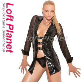 ボンテージのコート PVCエナメルとメッシュのドレス セクシーコスチューム2点セット WB-W841023