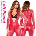 ボンテージのキャットスーツ・クロッチオープン4スライダー&レザー調の全身ジャンプスーツ赤・大きいサイズありWB-W926720Aモデル商品前後画像