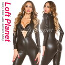 ボンテージのキャットスーツ クロッチオープン4スライダー&レザー調の全身ジャンプスーツ黒 大きいサイズあり WB-W926720B