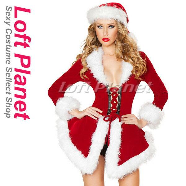 サンタのクリスマス衣装 セクシーな編み上げガウンのドレス2点セット OY-S9064