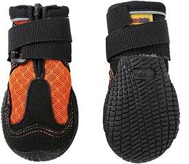 犬用靴 Mud Monsters (マッドモンスターズ) 2個入り (2 / XS (横:-4.5cm、縦:-7.0cm), オレンジ)