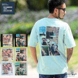 ◆バックフォトTシャツ◆Tシャツ メンズ おしゃれ ティーシャツ 半袖 カットソー トップス メンズファッション 春 春服 春物 夏 夏服 夏物 クルーネック 綿 綿100% ホワイト ブラック