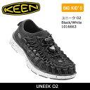 キーン KEEN オープンエアスニーカー UNEEK O2 ユニーク O2 Black/White 1016663 /キッズ ジュニア 20cm-21cm 【靴...