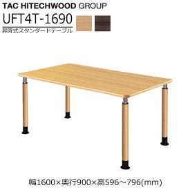 テーブル 高さ調節 ダイニングテーブル キャスター 業務用 病院 介護 福祉施設 オフィス家具 木製 UFT-4T1690 送料無料