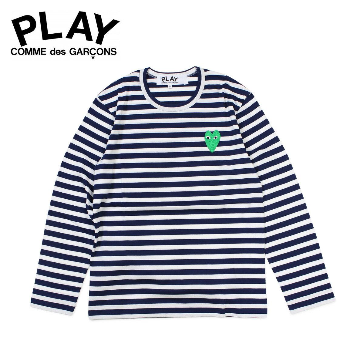 コムデギャルソン PLAY Tシャツ 長袖 COMME des GARCONS メンズ HEART LS T-SHIRT ボーダー カットソー AZ-T052 ホワイト [12/5 追加入荷]