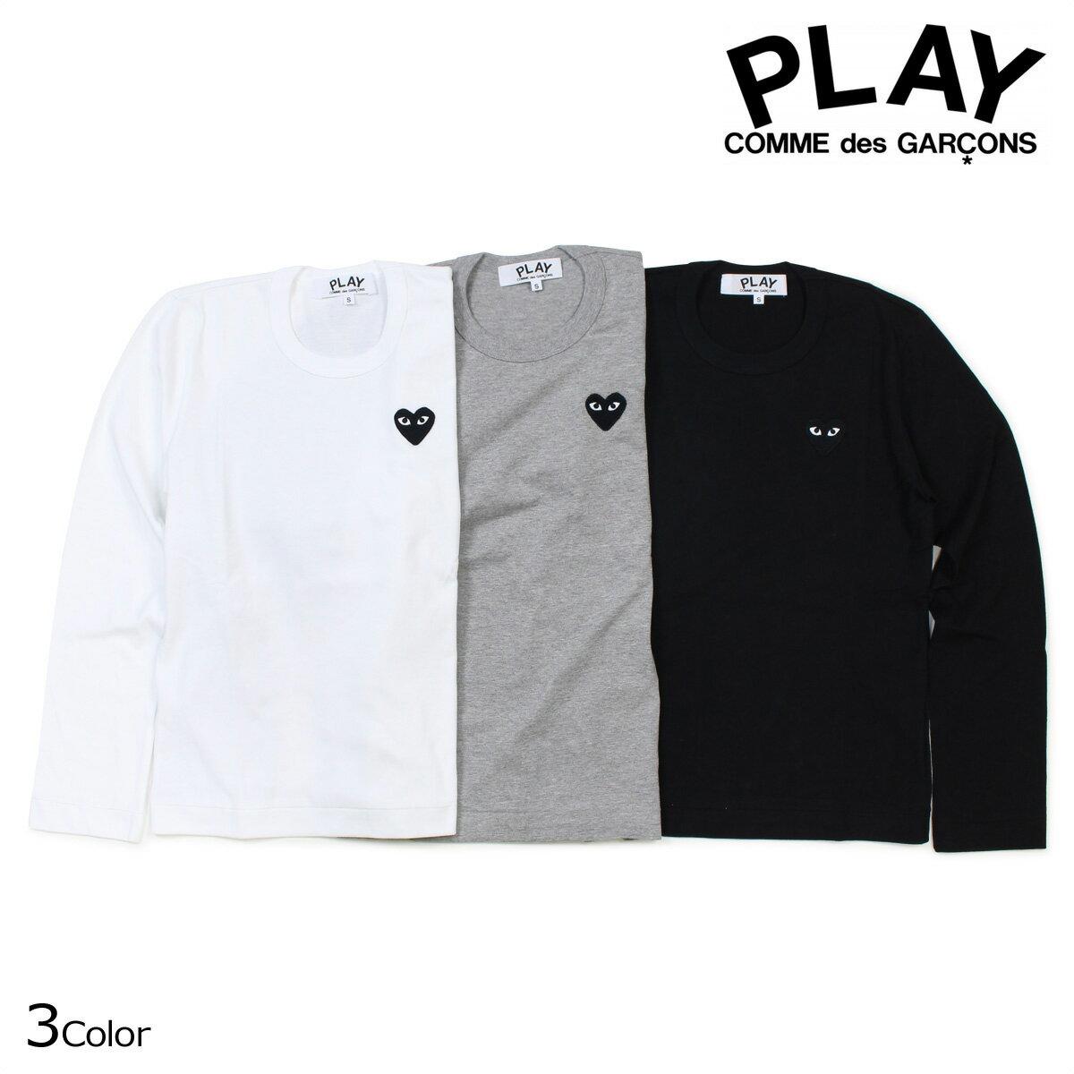 コムデギャルソン PLAY Tシャツ 長袖 COMME des GARCONS レディース BLACK HEART LS T-SHIRT カットソー AZ-T119 AZ-T121 ブラック ホワイト グレー [12/5 追加入荷]
