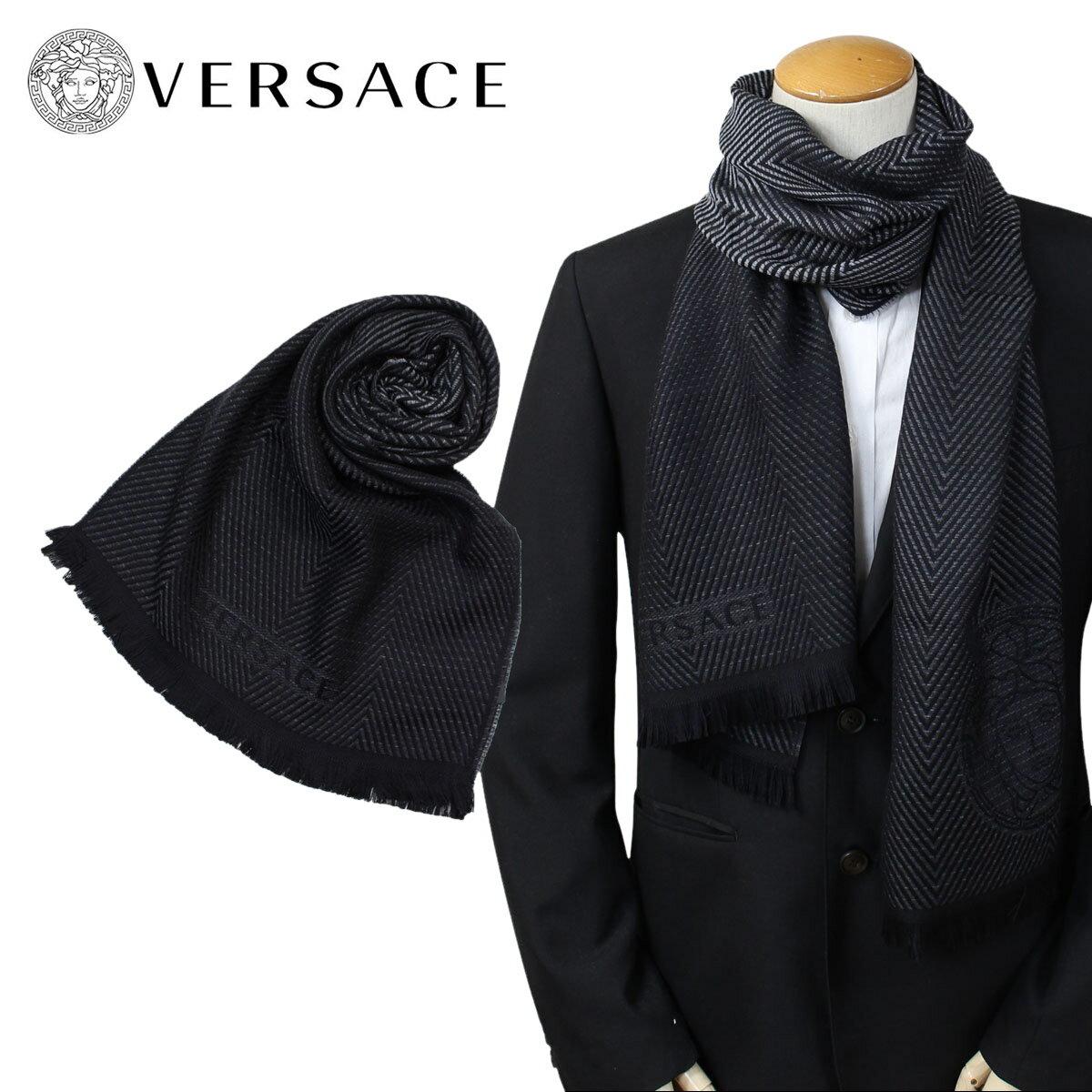 ベルサーチ マフラー ヴェルサーチ VERSACE メンズ ウール イタリア製 カジュアル ビジネス 0645