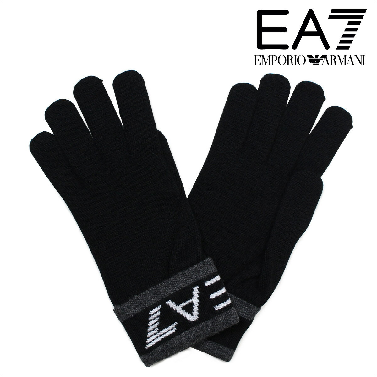 エンポリオ アルマーニ 手袋 メンズ 防寒 EMPORIO ARMANI EA7 イーエーセブン ブラック ビジネス カジュアル 2755617A393 [12/27 追加入荷]