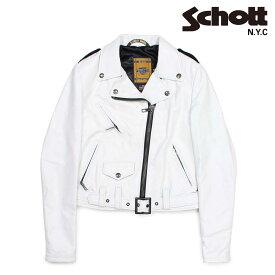 【最大2000円OFFクーポン】 ショット Schott ジャケット ライダースジャケット レディース LAMBSKIN PERFECTO LEATHER JACKET ホワイト SPERW
