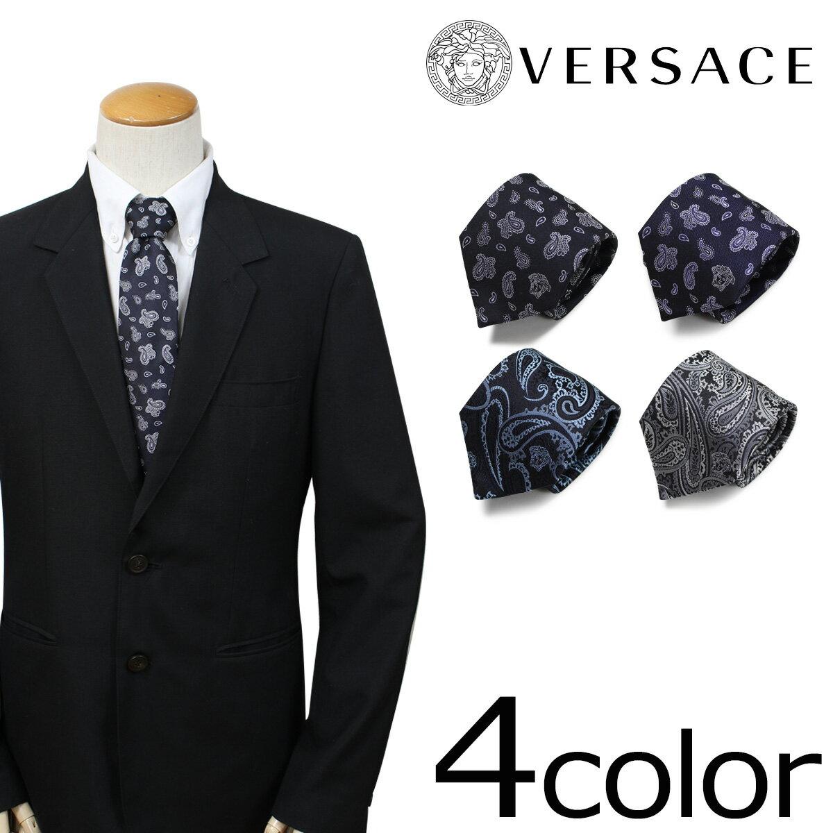 ベルサーチ ネクタイ シルク ヴェルサーチ VERSACE メンズ ギフト ケース付 イタリア製 ビジネス 結婚式 [4/24 追加入荷]
