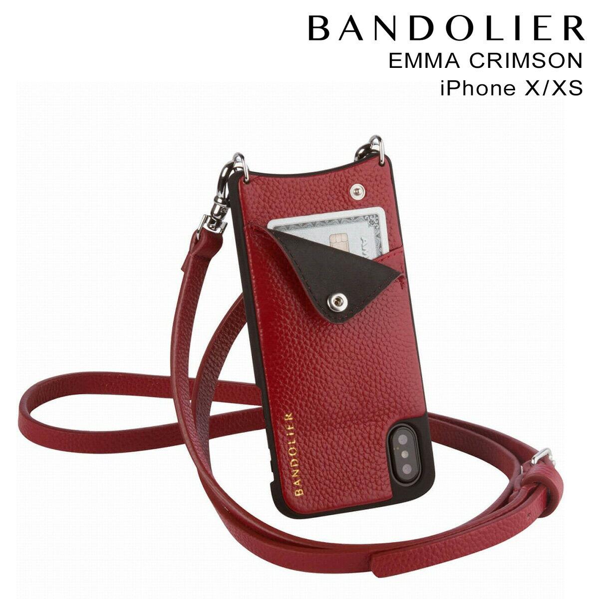 BANDOLIER バンドリヤー iPhoneXS X ケース スマホ アイフォン EMMA CRIMSON レザー メンズ レディース [4/5 再入荷]