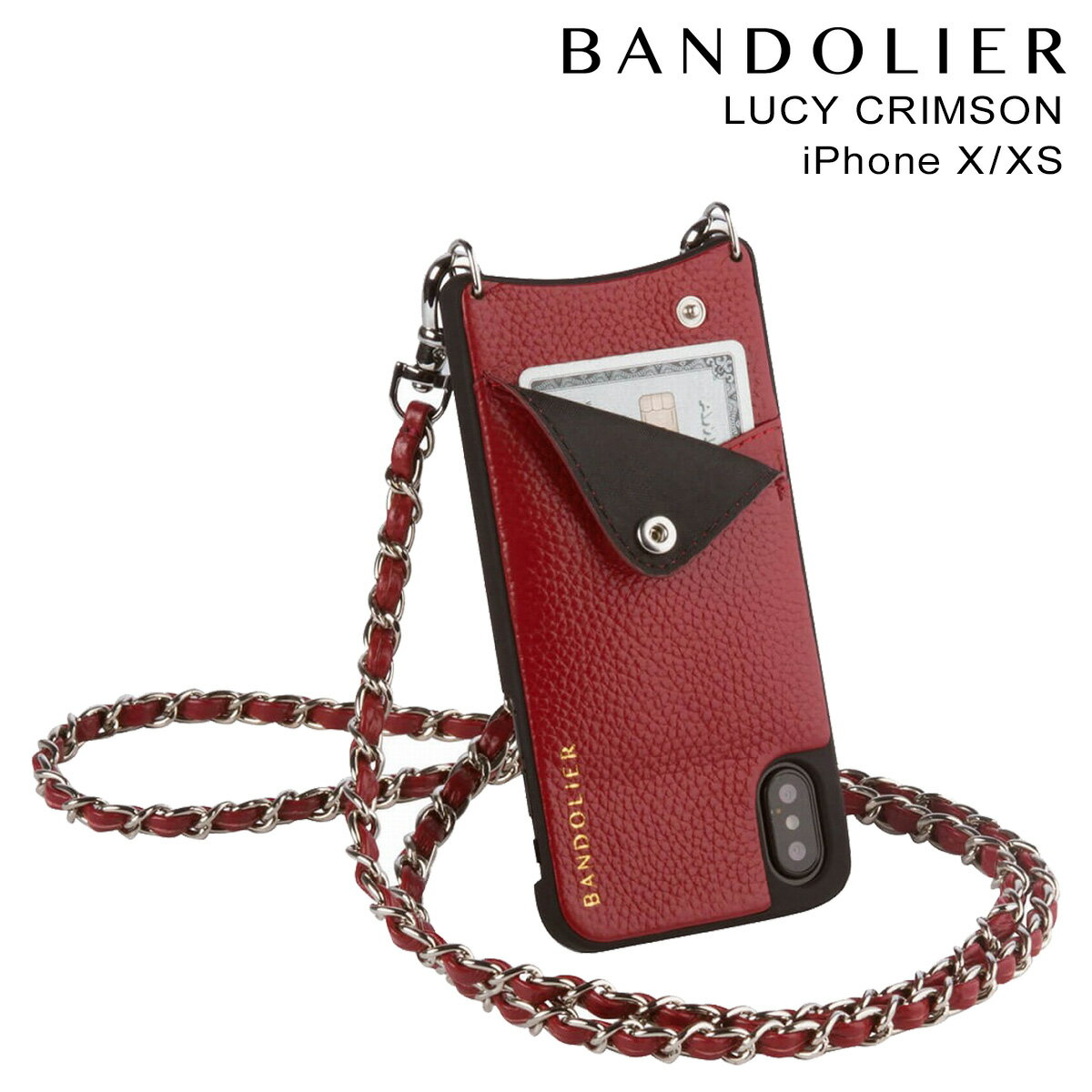 BANDOLIER バンドリヤー iPhoneXS X ケース スマホ アイフォン LUCY CRIMSON レザー メンズ レディース