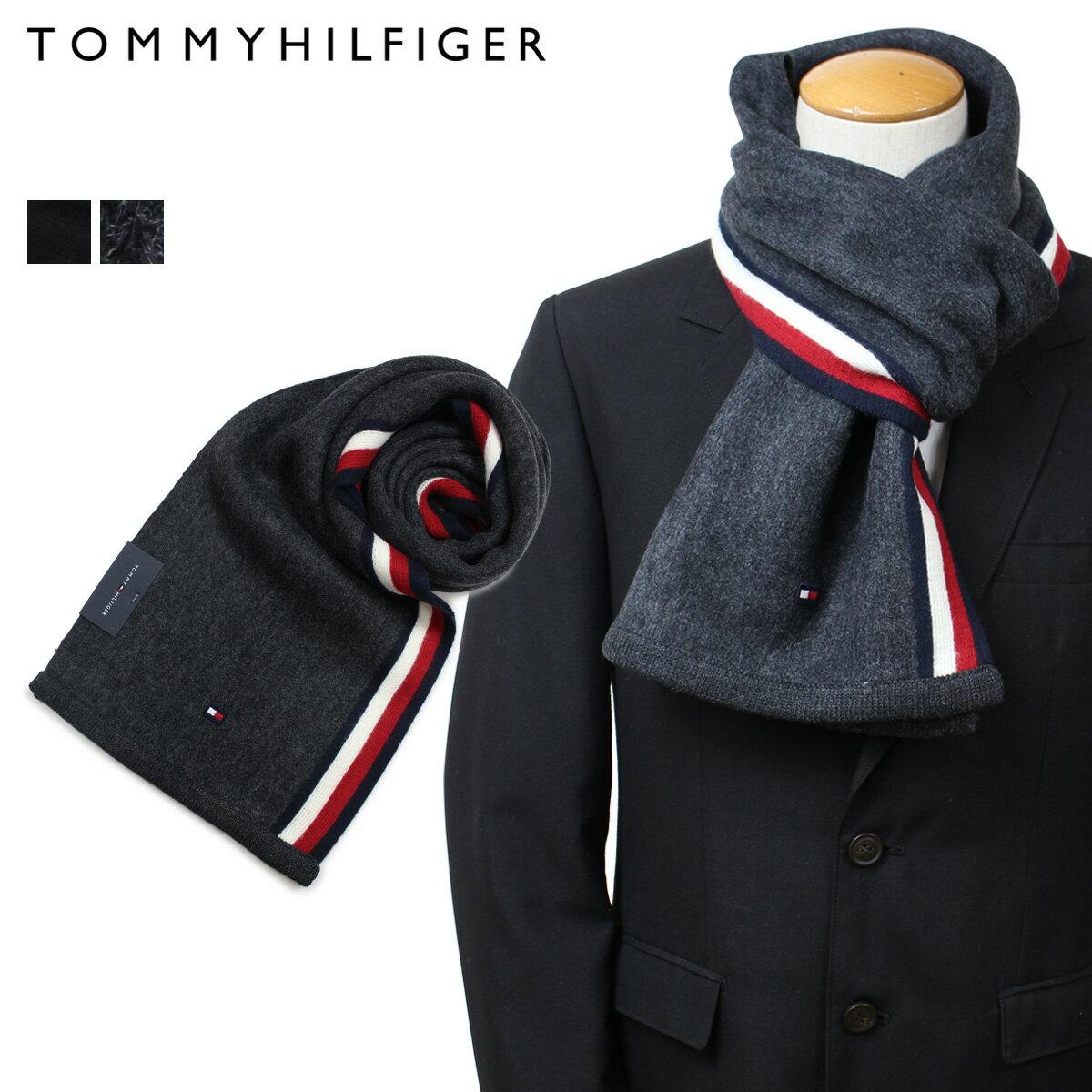 トミーヒルフィガー マフラー TOMMY HILFIGER メンズ ブラック グレー H8C73607 TH-F17-0007