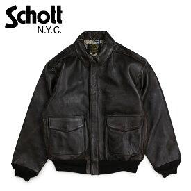 ショット Schott ジャケット ボンバージャケット メンズ MEN'S WAXY OILED LAMBSKIN A-2 BOMBER JACKET ブラウン P274