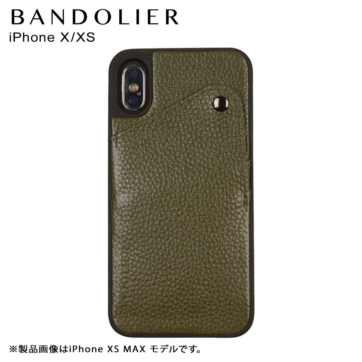 BANDOLIER バンドリヤー iPhone XS X ケース スマホ アイフォン レザー ALEX GREEN メンズ レディース グリーン