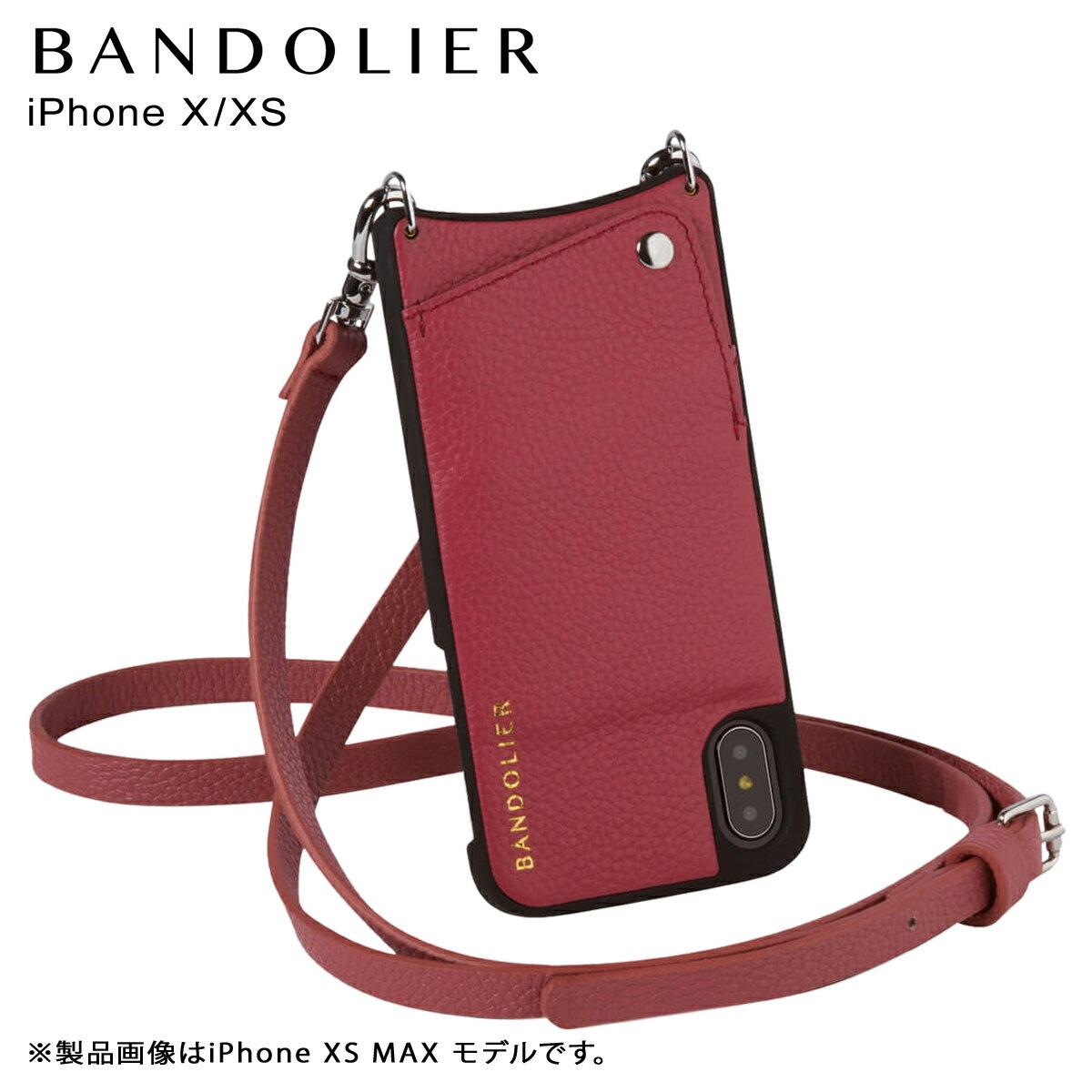 BANDOLIER バンドリヤー iPhone XS X ケース ショルダー スマホ アイフォン レザー EMMA MAGENTA RED メンズ レディース マゼンタ レッド 10EMM1001 [4/18 再入荷]