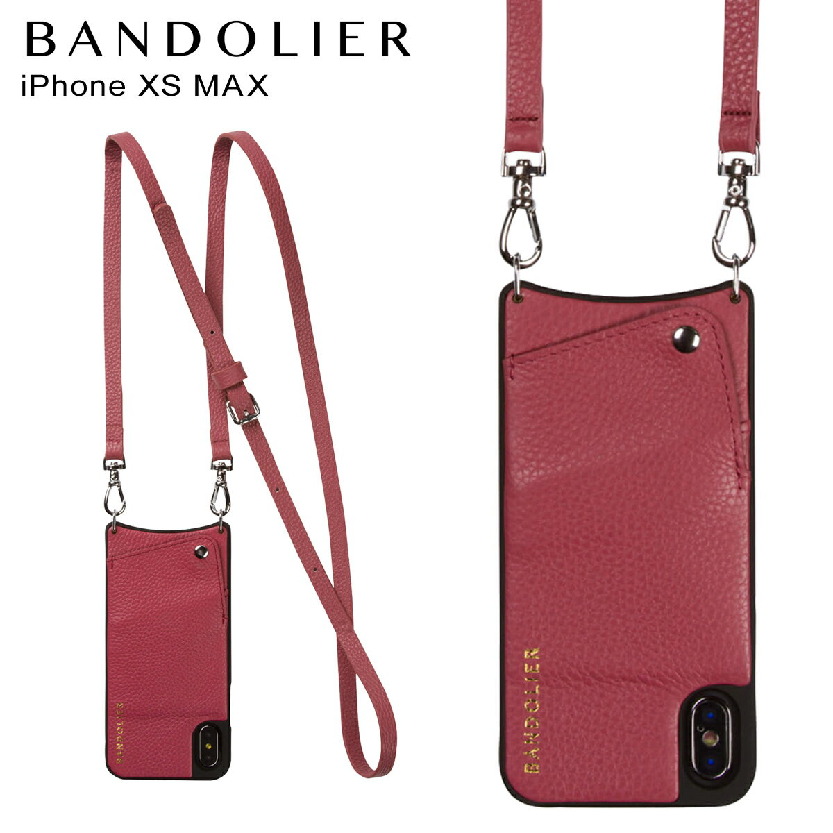 BANDOLIER バンドリヤー iPhone XS MAX ケース ショルダー スマホ アイフォン レザー EMMA MAGENTA RED メンズ レディース マゼンタ レッド 10EMM1001 [4/18 再入荷]