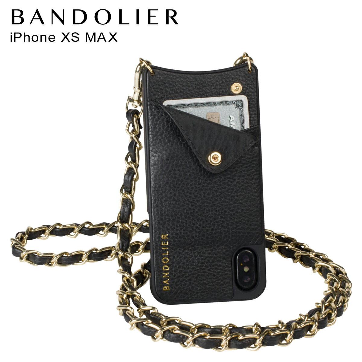 BANDOLIER バンドリヤー iPhone XS MAX ケース ショルダー スマホ アイフォン レザー LUCY GOLD メンズ レディース ブラック 10LCY1001