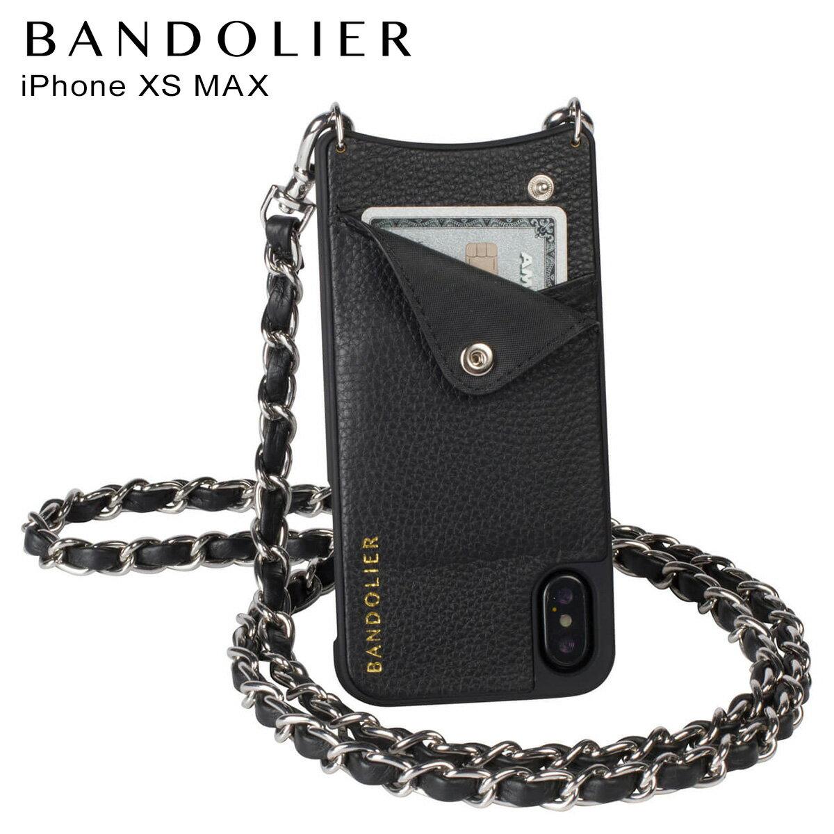 BANDOLIER バンドリヤー iPhone XS MAX ケース ショルダー スマホ アイフォン レザー LUCY SILVER メンズ レディース ブラック 10LCY1001