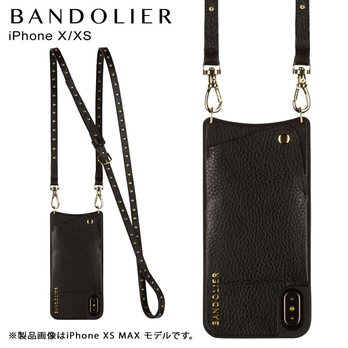 BANDOLIER バンドリヤー iPhone XS X ケース ショルダー スマホ アイフォン レザー NICOLE GOLD メンズ レディース ブラック 10NIC1001 [4/18 再入荷]
