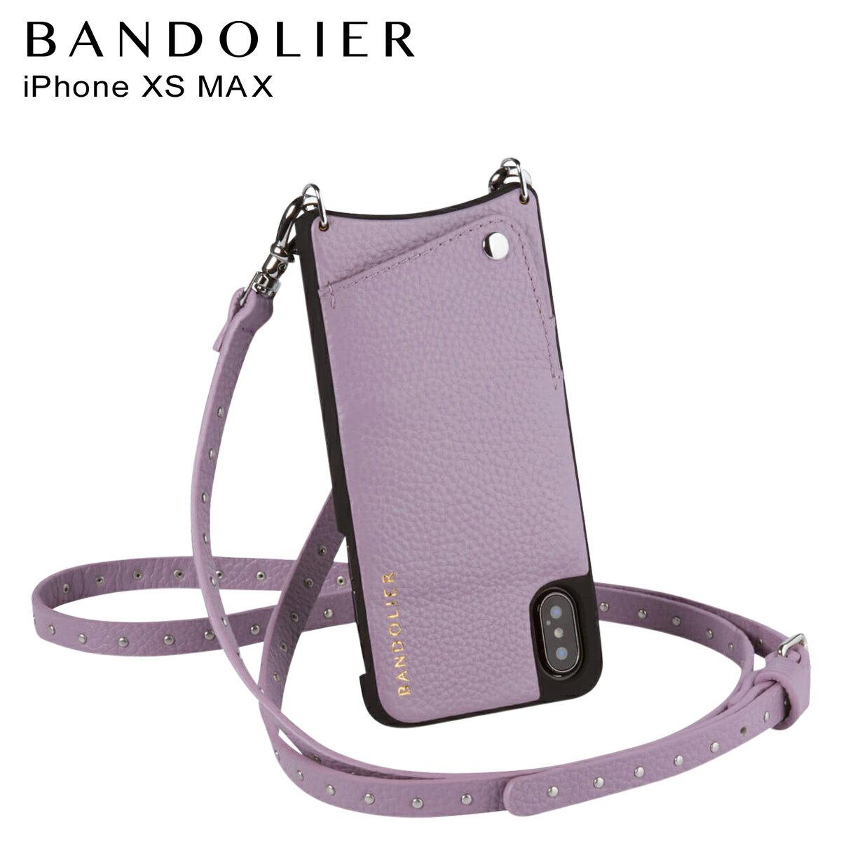 BANDOLIER バンドリヤー iPhone XS MAX ケース ショルダー スマホ アイフォン レザー NICOLE LILAC メンズ レディース ライラック 10NIC1001