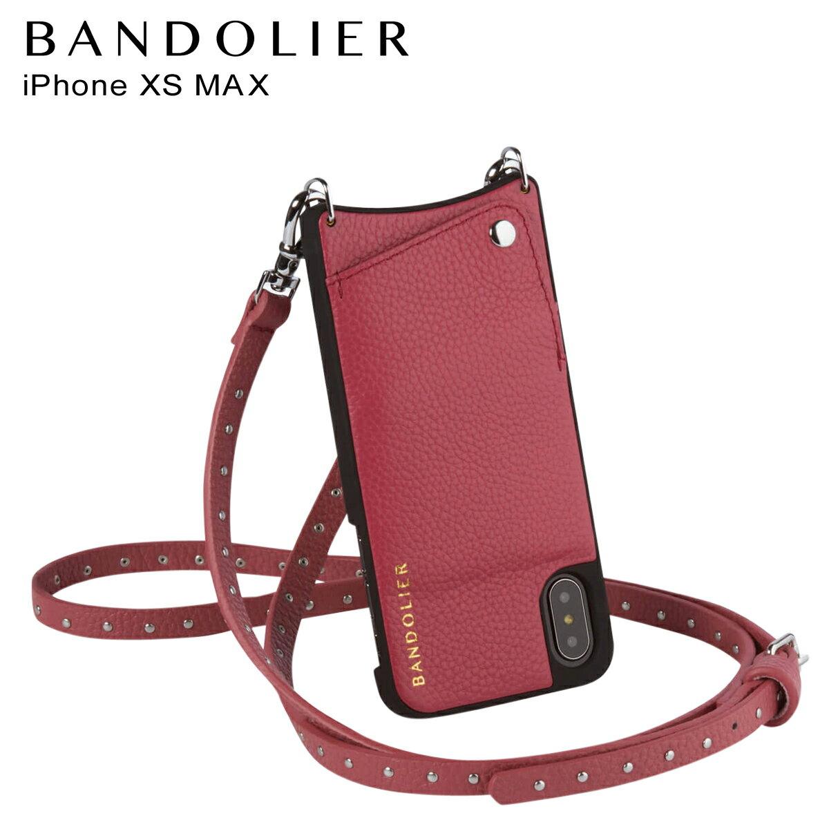 BANDOLIER バンドリヤー iPhone XS MAX ケース ショルダー スマホ アイフォン レザー NICOLE MAGENTA RED メンズ レディース マゼンタ レッド 10NIC1001