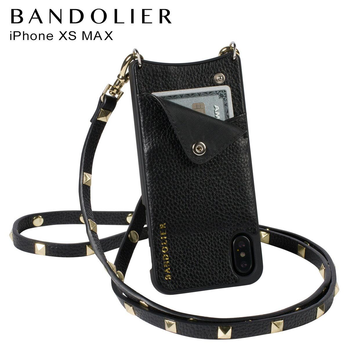 BANDOLIER バンドリヤー iPhone XS MAX ケース ショルダー スマホ アイフォン レザー SARAH GOLD メンズ レディース ブラック 10SAR1001