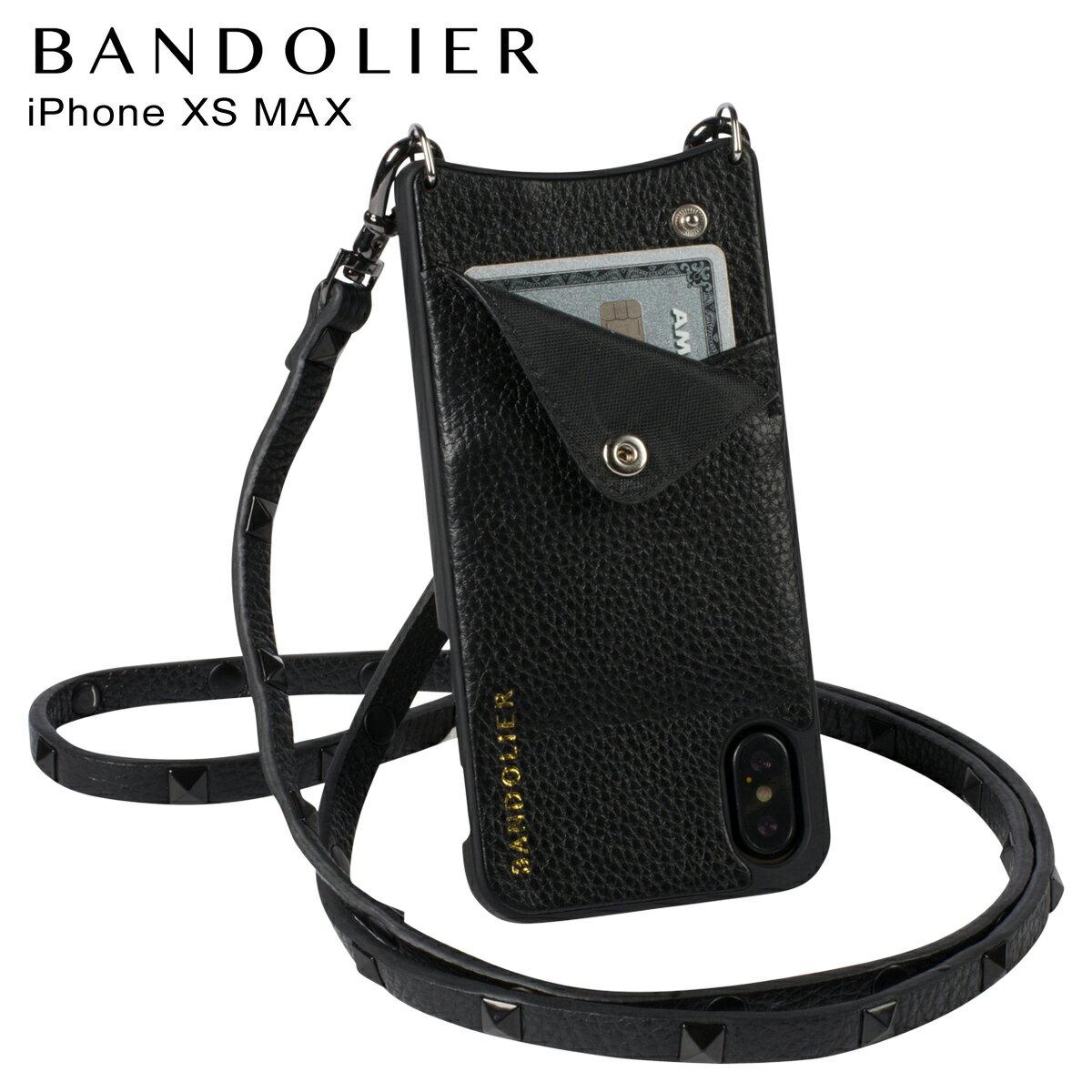 BANDOLIER バンドリヤー iPhone XS MAX ケース ショルダー スマホ アイフォン レザー SARAH BLACK メンズ レディース ブラック 10SAR1001 [4/18 再入荷]