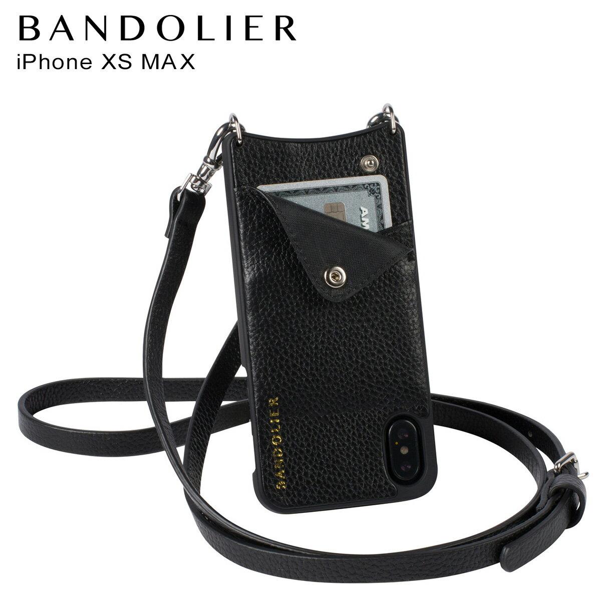 BANDOLIER バンドリヤー iPhone XS MAX ケース ショルダー スマホ アイフォン レザー EMMA SILVER メンズ レディース ブラック 10EMM1001 [4/18 再入荷]