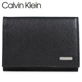 【最大2000円OFFクーポン】 カルバンクライン Calvin Klein 名刺入れ カードケース メンズ レザー LOGO PLATE CARD CASE ブラック 79218 [5/27 再入荷]