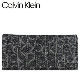 カルバンクライン Calvin Klein 財布 長財布 メンズ レザー モノグラム LOGO SECRETARY ブラック 黒 79467 [4/15 再入荷]