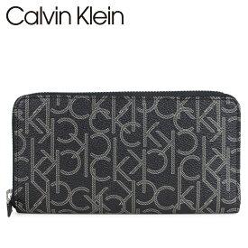カルバンクライン Calvin Klein 財布 長財布 メンズ ラウンドファスナー レザー モノグラム LOGO ZIP AROUND WALLET ブラック 黒 79468