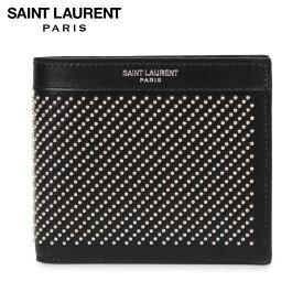 サンローラン パリ SAINT LAURENT PARIS 財布 二つ折り メンズ STUD-EMBELLISHED WALLET ブラック 黒 3613200VGUE [1/6 新入荷]