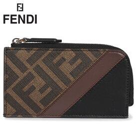 フェンディ FENDI 財布 小銭入れ コインケース カードケース メンズ L字ファスナー CARD HOLDER ブラウン 7M0270