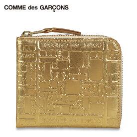 コムデギャルソン COMME des GARCONS 財布 小銭入れ コインケース メンズ レディース L字ファスナー EMBOSSED LOGOTYPE ゴールド SA3100EG