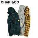 CHARI&CO チャリアンドコー シャツ シャツジャケット メンズ FLANNEL HOODIE JKT グレー グリーン イエロー