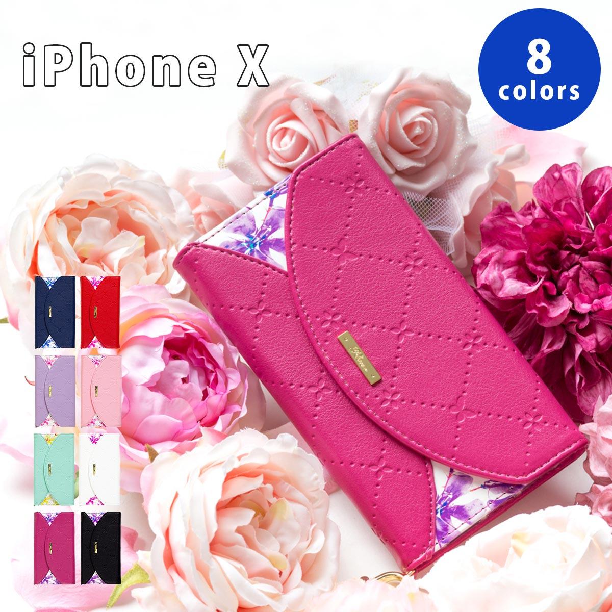 iPhone X ケース 手帳型 スマホケース スマートフォン おしゃれ アイフォン 大人女子 NATURAL design ナチュラルデザイン FLEUR LETTER