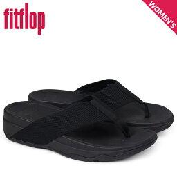 FitFlop合身FLOP衝浪運動員涼鞋女士SURFA TOE POST SANDALS黑色H84