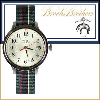Brooks Brothers BROOKS BROTHERS watch men's 3 HAND MODEL 40 mm watch chronograph collection 346 watch green x Red [12 / 19 new stock] [regular] ★ ★