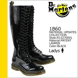 马滕斯 Dr.Martens 20 孔 10 倍点靴子黑色 R12270001 1B60 专利女性珐琅 [真正]