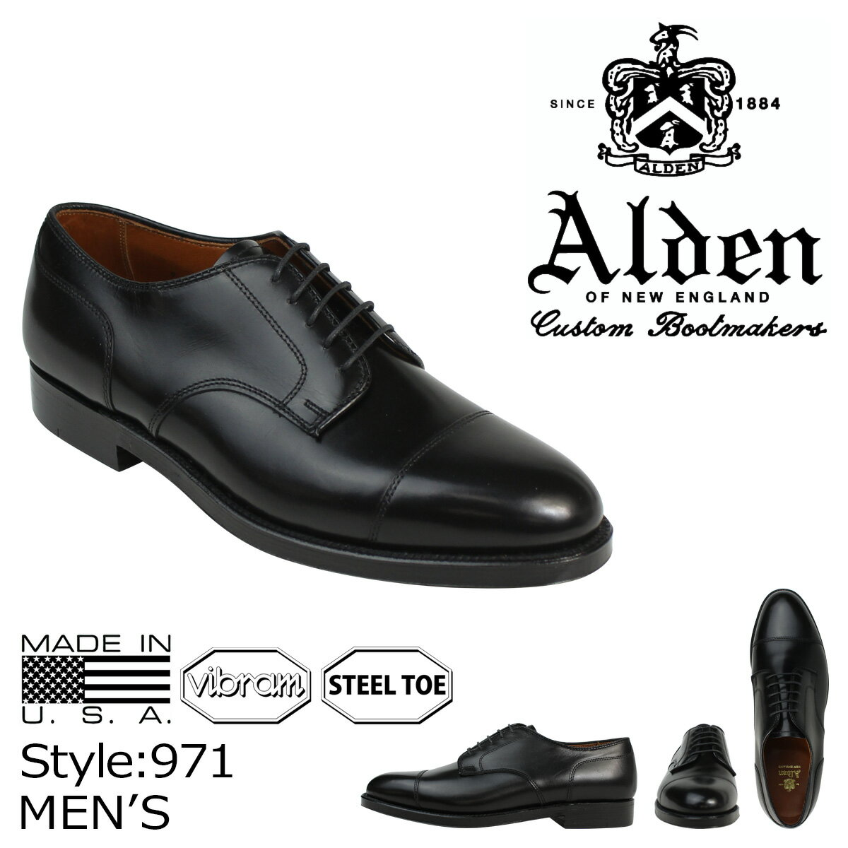 ALDEN オールデン シューズ メンズ STRAIGHT TIP BLUCHER Dワイズ 971 [1/12 追加入荷]