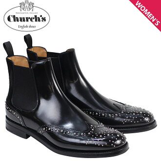 Church shoes Lady's Churchs boots side Gore bootie wing tip Ketsby Met Polish Binder Calf 8748 DT0004 studs black [6/21 Shinnyu load]