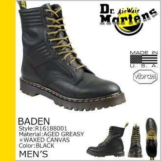Dr.Martens Baden Martens 10 holes high jungle boots BADEN 10 EYE HIGH JUNGLE leather x canvas men's lace-up boots R16188001 black [10 / 24 new in stock] [regular]