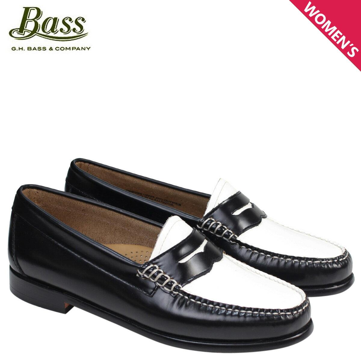 G.H. BASS ローファー ジーエイチバス レディース WHITNEY WEEJUNS 71-22414 靴 ブラック ホワイト