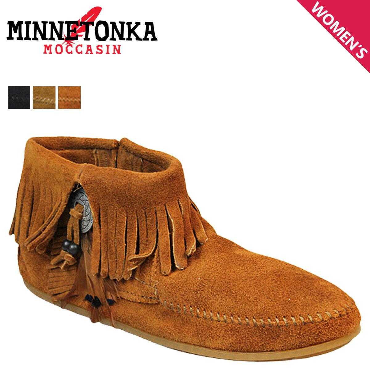 ミネトンカ MINNETONKA ブーティー サイドジップ ブーツ CONCHO FEATHER SIDE ZIP BOOT レディース [1/29 追加入荷]