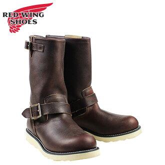 紅紅翼工程師靴工程師野薔薇浮油 D 明智皮革男士工作靴暗棕色 2970