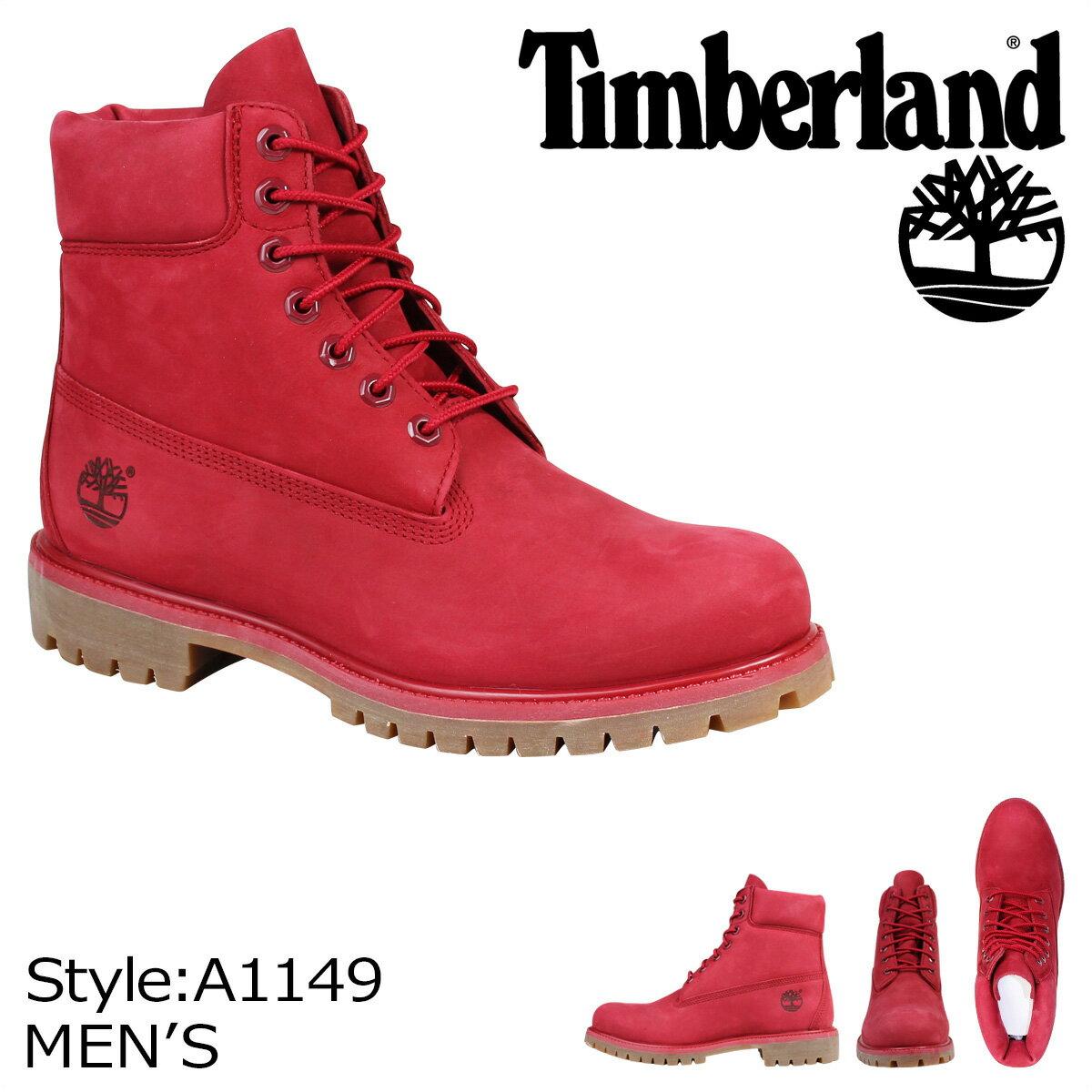 ティンバーランド ブーツ メンズ 6インチ Timberland 6INCH PREMIUM WATERPROOF BOOTS A1149 Wワイズ プレミアム 防水 レッド [3/14 追加入荷]
